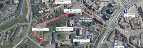 Billede der viser P-pladser nær Aabenraa Bibliotek / Folkehjem