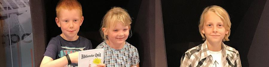Alexander, Ellen og Noah vandt Arena Bibliotekets Quiz